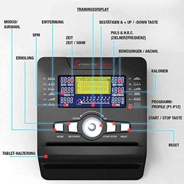 Sportstech RSX500 Rudergerät | Deutsches Qualitätsunternehmen | Wettkampfmodus inkl. Pulsgurt (im Wert von: 39,90) & Tablethalterung | 16 Programme mit Magnetwiderstand | Home Trainer klappbar - 6