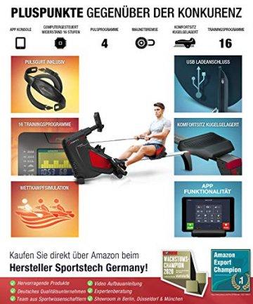 Sportstech RSX500 Rudergerät | Deutsches Qualitätsunternehmen | Wettkampfmodus inkl. Pulsgurt (im Wert von: 39,90) & Tablethalterung | 16 Programme mit Magnetwiderstand | Home Trainer klappbar - 8