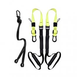 ACTENLY Schlingentrainer Für Krafttraining Bodyweight Fitness Widerstandstrainer Slingtrainer Set rutschfeste Griffe Befestigungsschlaufe (Grün) - 1