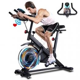 ANCHEER Heimtrainer, 49LBS Indoor Cycling Bike Fitnessbike Mit Herzfrequenzmonitor & LCD Monitor, Bequeme Sitzkissen, Schwere Schwungrad Upgrade Version, Multi-Grips - 1