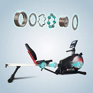 AsVIVA RA6 2in1 Rudergerät, Liegeergometer Cardio, leises Magnetbremssystem, 13KG Schwungmasse, Fitnesscomputer mit 16 Stufen, integrierter Pulsempfänger, klappbar - 4