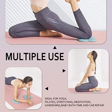Bigmeda 2Stk Kniekissen für Yoga,Yoga Matt für Pilates,Minimiert und Unterstützt Knie Handgelenke und Ellbogen,Umweltfreundlich Leicht Rutschfest Yoga Mat (Nebelblau) - 6