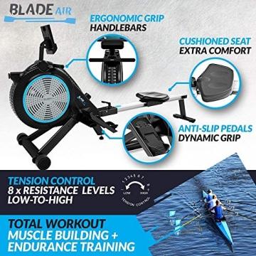 Bluefin Fitness Blade Air Rudergerät für Zuhause, klappbar | Dual-Magnet + Luft Widerstand Rudermaschine | Kinomap App | Live Video Streaming | Video Coaching & Training | Digitale LCD-Fitnesskonsole - 4