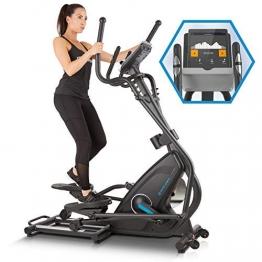 Capital Sports Helix Star MR Cross Trainer mit Trainingscomputer Heimtrainer (Kinomap-App-Unterstützung, Bluetooth, Schwungmasse: 21 kg, 32-stufiger Magnetwiderstand, Pulsmesser) schwarz - 1
