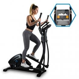 Capital Sports Helix Track Cross-Trainer mit Trainingscomputer Heimtrainer (Bluetooth, Kinomap-Applikation, MagResist-Magnet-Widerstand, 18 kg Schwungmasse, Tablethalter, USB-Ladebuchse) schwarz - 1