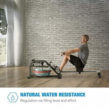 Capital Sports Rowlympic Wasserrudergerät Ruderbank, gleichmäßiges & gelenkschonendes Training, 115 cm Lange Gleitbahn, Wasserwiderstand mit Regulierung durch Wasserfüllstand, Aluminium - 2