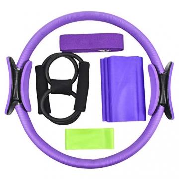 Chstarina 5Pcs Pilates Ring und Fitnessbänder Set, Widerstandsring Loop Doppelgriff Pilates Yoga Ringe Magic Übungskreis mit 1Pcs Baumwollgurt und 3PCs Widerstandsbänder für Fettverbrennung, Ø 38cm - 2