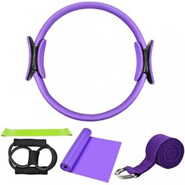 Chstarina 5Pcs Pilates Ring und Fitnessbänder Set, Widerstandsring Loop Doppelgriff Pilates Yoga Ringe Magic Übungskreis mit 1Pcs Baumwollgurt und 3PCs Widerstandsbänder für Fettverbrennung, Ø 38cm - 1
