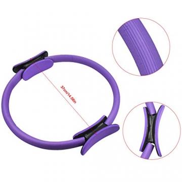Chstarina 5Pcs Pilates Ring und Fitnessbänder Set, Widerstandsring Loop Doppelgriff Pilates Yoga Ringe Magic Übungskreis mit 1Pcs Baumwollgurt und 3PCs Widerstandsbänder für Fettverbrennung, Ø 38cm - 5