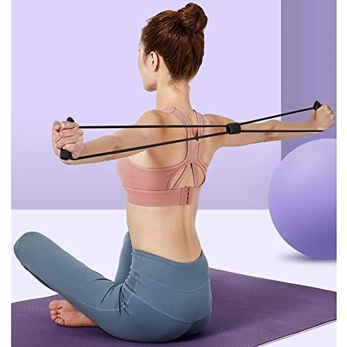 Chstarina 5Pcs Pilates Ring und Fitnessbänder Set, Widerstandsring Loop Doppelgriff Pilates Yoga Ringe Magic Übungskreis mit 1Pcs Baumwollgurt und 3PCs Widerstandsbänder für Fettverbrennung, Ø 38cm - 6