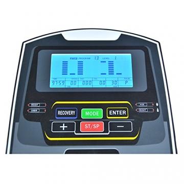 EnjoyFit® Crosstrainer Heimtrainer Ergometer Stepper Ellipsentrainer. Große Programmvielfalt inkl. 4 Herzfrequenz basiertes Training, Smartphone-Tablet-Halterung, elektr. gesteuerte Magnetbremse - 5