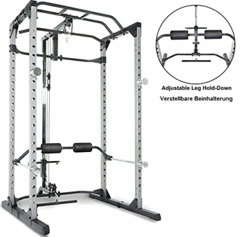 Fitness Reality 810XLT Super Max Power Rack mit Latzug, Kraftstation mit 363 kg maximaler Belastung, Power Cage mit Kabelzugturm und Klimmzugstange - 8