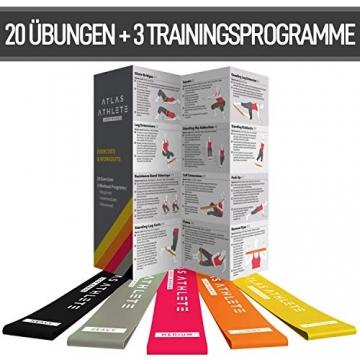 Fitnessbänder - Fitnessband + Trainingsanleitung + Fitness band Tragetasche - 5er Gummi Set Wiederstandsbänder für Zuhause & Sport - Beine Oberschenkel Po Yoga Pilates CrossFit Modell Standard - 3