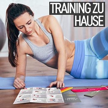 Fitnessbänder - Fitnessband + Trainingsanleitung + Fitness band Tragetasche - 5er Gummi Set Wiederstandsbänder für Zuhause & Sport - Beine Oberschenkel Po Yoga Pilates CrossFit Modell Standard - 5