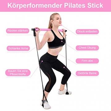 Fitnessübung Pilates Bar Stick tragbare Übung-Stick Gym Pilates Bar Kit mit einstellbaren Widerstandsbänder Home-Gym Training Fitness Bar Resistance Band für Ganzkörpertraining, Dehnübungen, Yoga - 2