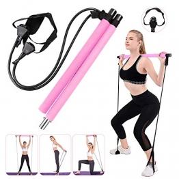 Fitnessübung Pilates Bar Stick tragbare Übung-Stick Gym Pilates Bar Kit mit einstellbaren Widerstandsbänder Home-Gym Training Fitness Bar Resistance Band für Ganzkörpertraining, Dehnübungen, Yoga - 1