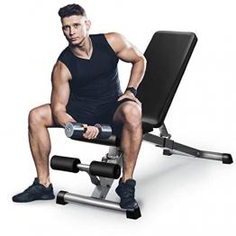 GOXIFAC Verstellbare Hantelbank – zusammenklappbare Fitness-Hantelbänke für Heimgymnastik-Übungen, Mehrzweck-Neigungs- und Neigungs-Workout-Bank für Ganzkörper-Gewichtheben und Krafttraining - 1