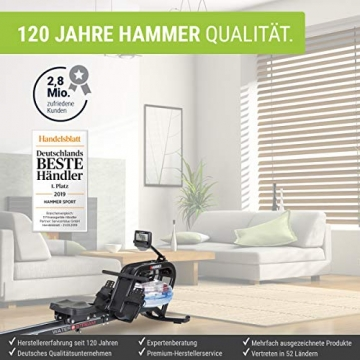 HAMMER Premium Wasser-Rudergerät Water Stream mit 18 Programmen, realistisches Rudererlebnis, leicht aufstellbar & Tablethalterung für Multimedia-Unterhaltung - 4