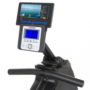 HAMMER Rudergerät Cobra XTR Plus II für zu Hause – Rudermaschine mit innovativem Trainingscomputer, Smartphone-/Tablethalterung, bis 130 kg Nutzergewicht, 232 x 55 x 75 cm, Schwarz, 4532 - 3