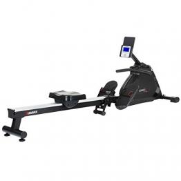 HAMMER Rudergerät Cobra XTR Plus II für zu Hause – Rudermaschine mit innovativem Trainingscomputer, Smartphone-/Tablethalterung, bis 130 kg Nutzergewicht, 232 x 55 x 75 cm, Schwarz, 4532 - 1