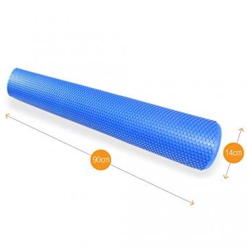 High Pulse® Pilates Rolle inkl. Fitnessband + Gratis Übungsposter – Die multifunktionale Schaumstoffrolle eignet Sich ideal für Muskelkräftigung, Fitness und Massage der Faszien (Blau | 90 x 14 cm) - 3