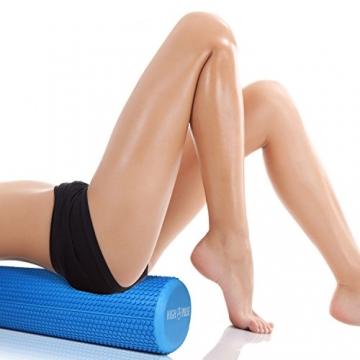 High Pulse® Pilates Rolle inkl. Fitnessband + Gratis Übungsposter – Die multifunktionale Schaumstoffrolle eignet Sich ideal für Muskelkräftigung, Fitness und Massage der Faszien (Blau | 90 x 14 cm) - 4