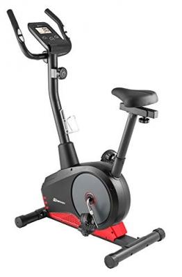 Hop-Sport Spark Heimtrainer Fahrrad - Fitnessgerät für Zuhause mit Pulssensoren & Computer, 8 Widerstandsstufen, Schwungmasse 9 kg - Fitnessbike für EIN max. Nutzergewicht von 120kg Rot - 1