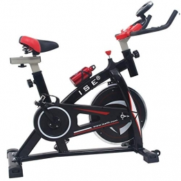 ISE Indoor Cycle Ergometer Heimtrainer mit LCD Anzeige,Armauflage,gepolsterte,8kg Schwungrad,Fitnessbike Speedbike mit flüsterleise Riemenantrieb-Fahrrad Ergometer bis 135Kg,170cm SY-7802 - 1