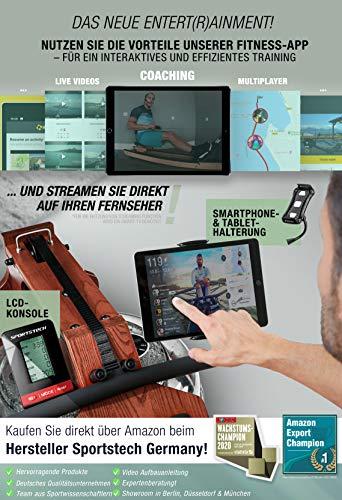 Messe-Neuheit 2020!Premium Wasser-Rudergerät mit patentierter Klappfunktion+App Funktion + Multiplayer & Video Events I mit Brustgurt I 3in1 Water Widerstand I Rower zuhause Echtholz Heimtrainer - 4