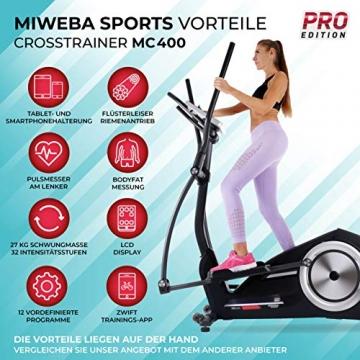 Miweba Sports Crosstrainer MC400 Stepper Ellipsentrainer Heimtrainer - Streaming App - 27 Kg Schwungmasse - Magnetbremse - Pulsmessung (Schwarz) - 2
