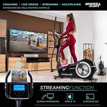Miweba Sports Crosstrainer MC400 Stepper Ellipsentrainer Heimtrainer - Streaming App - 27 Kg Schwungmasse - Magnetbremse - Pulsmessung (Schwarz) - 5