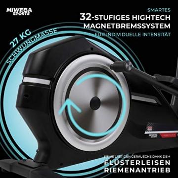 Miweba Sports Crosstrainer MC400 Stepper Ellipsentrainer Heimtrainer - Streaming App - 27 Kg Schwungmasse - Magnetbremse - Pulsmessung (Schwarz) - 7