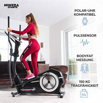 Miweba Sports Crosstrainer MC400 Stepper Ellipsentrainer Heimtrainer - Streaming App - 27 Kg Schwungmasse - Magnetbremse - Pulsmessung (Schwarz) - 8