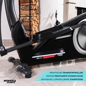 Miweba Sports Crosstrainer MC400 Stepper Ellipsentrainer Heimtrainer - Streaming App - 27 Kg Schwungmasse - Magnetbremse - Pulsmessung (Schwarz) - 9