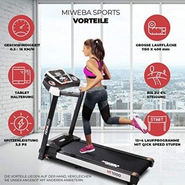 Miweba Sports elektrisches Laufband HT1000 - Incline 6% - Klappbar - 1,75 Ps - 16 Km/h - 12+4 Laufprogramme - Tablet Halterung - Große Lauffläche (Schwarz) - 2