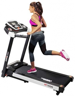 Miweba Sports elektrisches Laufband HT1000 - Incline 6% - Klappbar - 1,75 Ps - 16 Km/h - 12+4 Laufprogramme - Tablet Halterung - Große Lauffläche (Schwarz) - 1