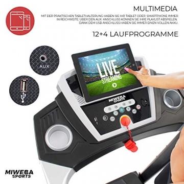 Miweba Sports elektrisches Laufband HT1000 - Incline 6% - Klappbar - 1,75 Ps - 16 Km/h - 12+4 Laufprogramme - Tablet Halterung - Große Lauffläche (Schwarz) - 4