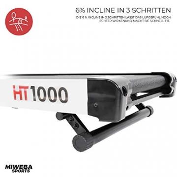Miweba Sports elektrisches Laufband HT1000 - Incline 6% - Klappbar - 1,75 Ps - 16 Km/h - 12+4 Laufprogramme - Tablet Halterung - Große Lauffläche (Schwarz) - 5