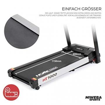 Miweba Sports elektrisches Laufband HT1000 - Incline 6% - Klappbar - 1,75 Ps - 16 Km/h - 12+4 Laufprogramme - Tablet Halterung - Große Lauffläche (Schwarz) - 6