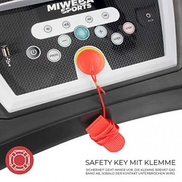 Miweba Sports elektrisches Laufband HT1000 - Incline 6% - Klappbar - 1,75 Ps - 16 Km/h - 12+4 Laufprogramme - Tablet Halterung - Große Lauffläche (Schwarz) - 8
