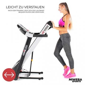Miweba Sports elektrisches Laufband HT1000 - Incline 6% - Klappbar - 1,75 Ps - 16 Km/h - 12+4 Laufprogramme - Tablet Halterung - Große Lauffläche (Schwarz) - 9