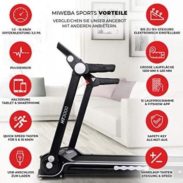 Miweba Sports elektrisches Laufband HT3000 - Incline bis 15% - Große Lauffläche - 3,5 PS - 16 km/h - 12 Laufprogramme - Tablet Halterung - Klappbar (Schwarz/Weiß) - 2