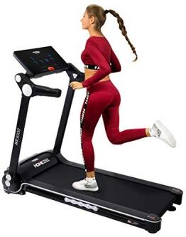 Miweba Sports elektrisches Laufband HT3000 - Incline bis 15% - Große Lauffläche - 3,5 PS - 16 km/h - 12 Laufprogramme - Tablet Halterung - Klappbar (Schwarz/Weiß) - 1