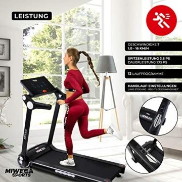 Miweba Sports elektrisches Laufband HT3000 - Incline bis 15% - Große Lauffläche - 3,5 PS - 16 km/h - 12 Laufprogramme - Tablet Halterung - Klappbar (Schwarz/Weiß) - 5