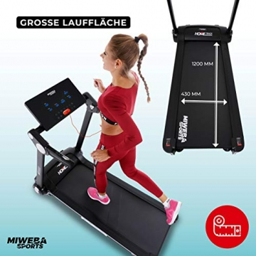 Miweba Sports elektrisches Laufband HT3000 - Incline bis 15% - Große Lauffläche - 3,5 PS - 16 km/h - 12 Laufprogramme - Tablet Halterung - Klappbar (Schwarz/Weiß) - 7