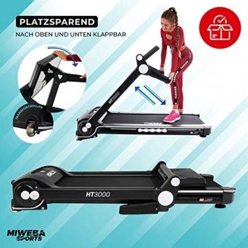 Miweba Sports elektrisches Laufband HT3000 - Incline bis 15% - Große Lauffläche - 3,5 PS - 16 km/h - 12 Laufprogramme - Tablet Halterung - Klappbar (Schwarz/Weiß) - 8