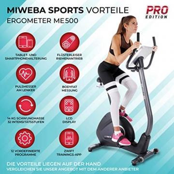 Miweba Sports Ergometer ME500 Trimmrad Cardio Heimtrainer - Streaming App - 14 Kg Schwungmasse - Magnetbremse - Pulsmesser (Black) - 2