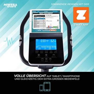 Miweba Sports Ergometer ME500 Trimmrad Cardio Heimtrainer - Streaming App - 14 Kg Schwungmasse - Magnetbremse - Pulsmesser (Black) - 3