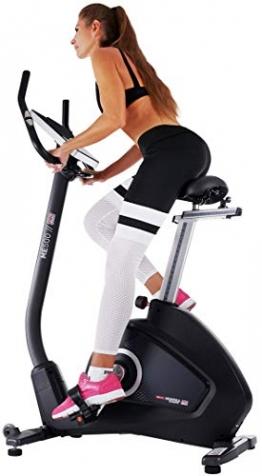 Miweba Sports Ergometer ME500 Trimmrad Cardio Heimtrainer - Streaming App - 14 Kg Schwungmasse - Magnetbremse - Pulsmesser (Black) - 1