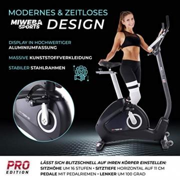 Miweba Sports Ergometer ME500 Trimmrad Cardio Heimtrainer - Streaming App - 14 Kg Schwungmasse - Magnetbremse - Pulsmesser (Black) - 4
